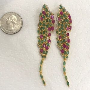 Real Ruby & Emerald Earrings Gold Tone Sterling